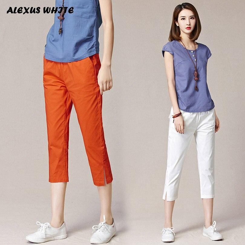 Cotton Linen Capri Pants for Woman 2018 Summer Casual Harem Pants Women's Clothing Plus Size Elastic Waist Thin Trousers