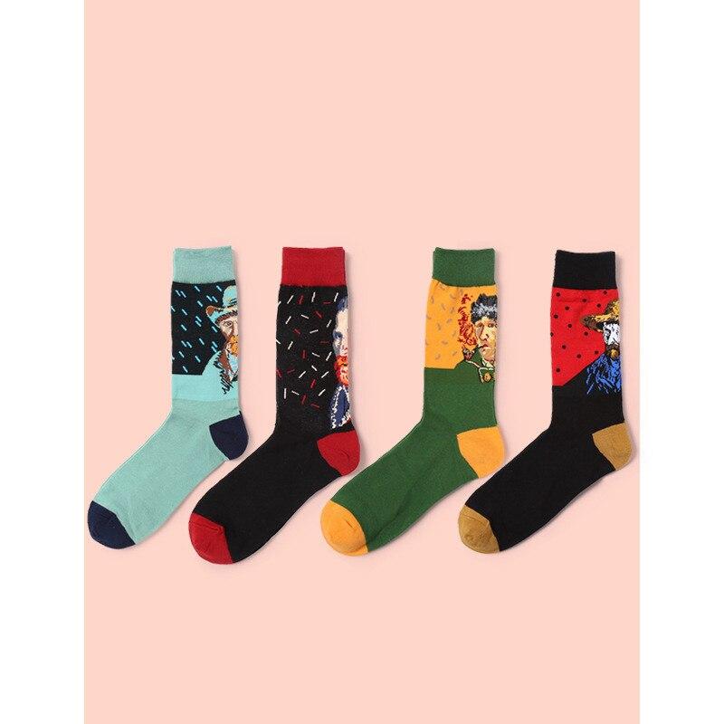 2018 Spring Fashion Retro Women Art Socks Mural World Famous Painting Series Long Mens Socks Harajuku Funny Socks Chaussettes
