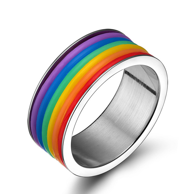 SHEAUTY Stainless Steel Rings Lesbian <font><b>Bisexual</b></font> Lgbt Gay <font><b>Pride</b></font> Homosexual Same Sex Rainbow Ring <font><b>Jewelry</b></font> for Men & Women 9mm Wide image