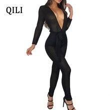 QILI Sexy V-neck Women Jumpsuits See Through Mesh Long Sleeve Skinny Jumpsuit Nightclub Bodycom Romper Black