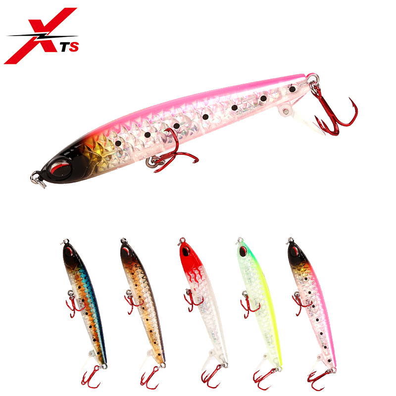 XTS Small Fishing Lure 70mm 7g/85mm 11g Wobblers Artificial Hard Pencil Crankbait Slow Sinking 5 Colors Jerkbait 4511