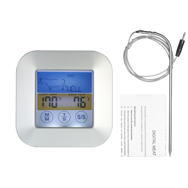 Digital Touchscreen Meat Oven Bbq Thermometer With Probe Color Lcd