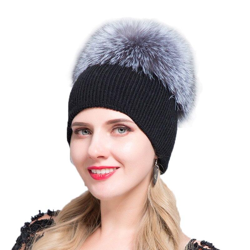 efdfd7a5d JERYAFUR 2018 Russian Wool Autumn Winter Broad Bean Cap Men's And Women's  Wool Knitted Headwear Leisure Hat And Fox Fur Ski Cap