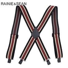 RAINIE SEAN Shoulder Strap For Pants Wide Men Suspenders Shirt 4 Clips Mens Braces Trousers Male Suspender Belt 120cm