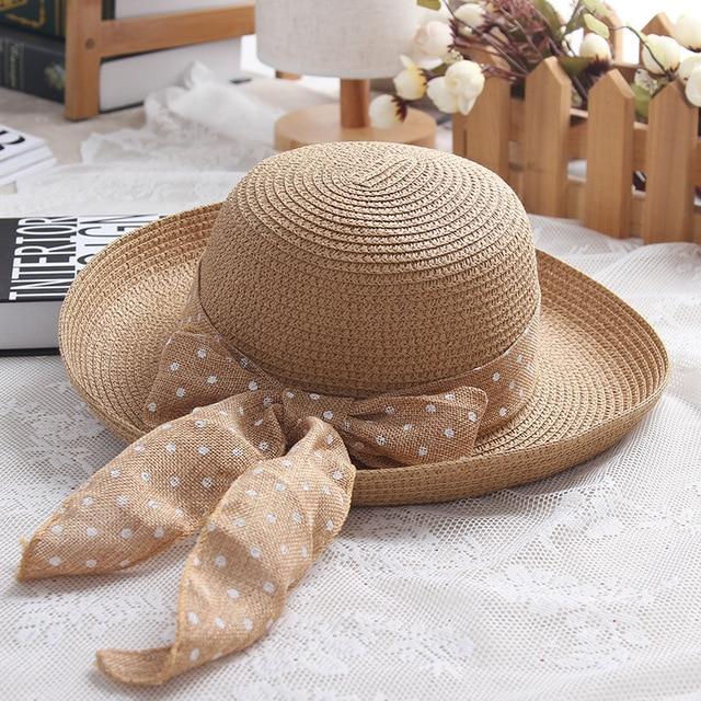 LaMaxPa New Fashion Dot Ribbon Hat Foldable Sun Hat Small Brim Hat For  Women Straw Hat Femme Elegant Chapeau Vrouw Stro Hoed 5f8a79c44ec