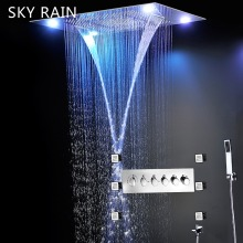 SKY RAIN Bathroom Luxury Style 600X800mm Large LED Shower Head Set Thermostatic SPA Massage System