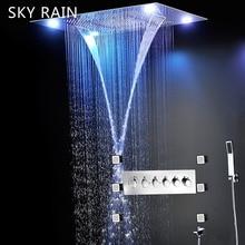 SKY RAIN Bathroom Luxury Style 600X800mm Large LED Shower Head Set Thermostatic SPA Massage System
