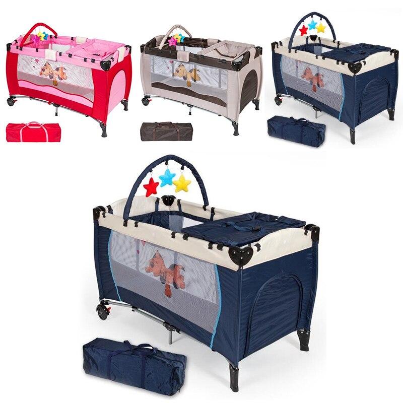 2019 lit de berceau bébé pliable enfant en bas âge lit motif pare-chocs superposés anti-moustique enfants filet berceau enfants jeu berceaux lit HWC