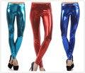 8 Cores 2017 moda leggings de couro Sexy Mulher De Metal Padrão Shinny PU Legging Calças de fitness de Alta Qualidade