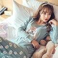 Nueva Venta Al Por Mayor de Invierno Primavera Mujeres Pijamas Animal de la Historieta Imprimir Rayón Conjuntos de Pijamas de Algodón de Manga Larga de Corea ropa de Noche Floja M-XL