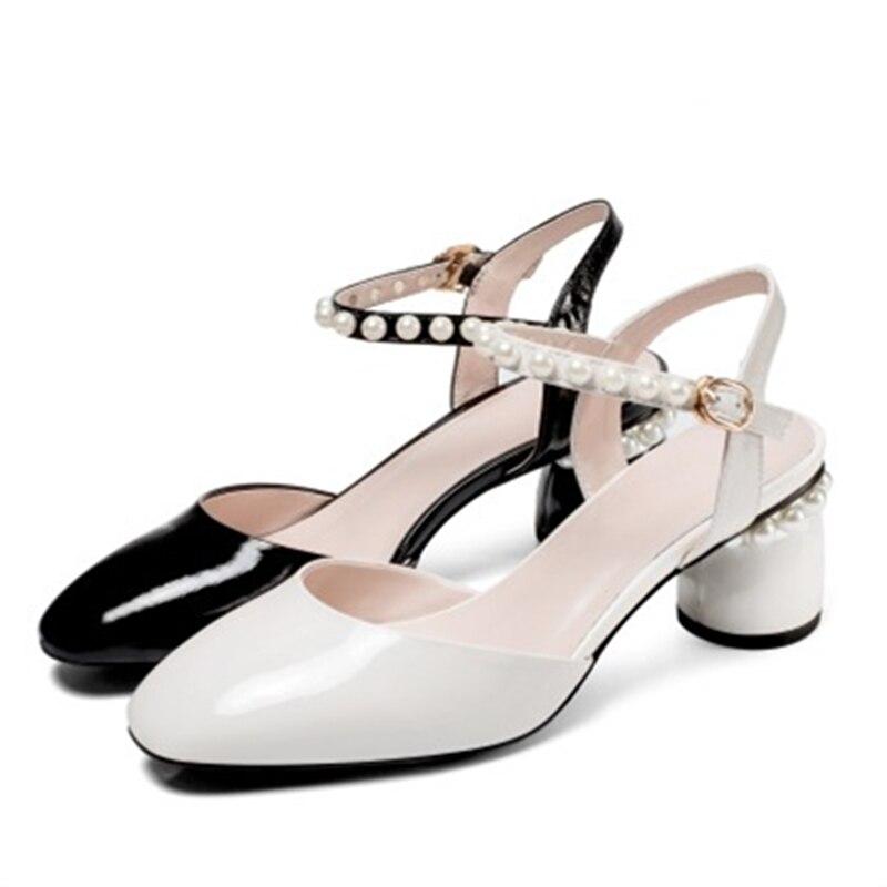 42 Fetiche Clásicos Auténtico Negro Verano Cuero Zapatos Punta Altos Bead  34 Redonda Moda Tacones blanco Tamaño Grande Sandalias ... 8f8bb84011b5