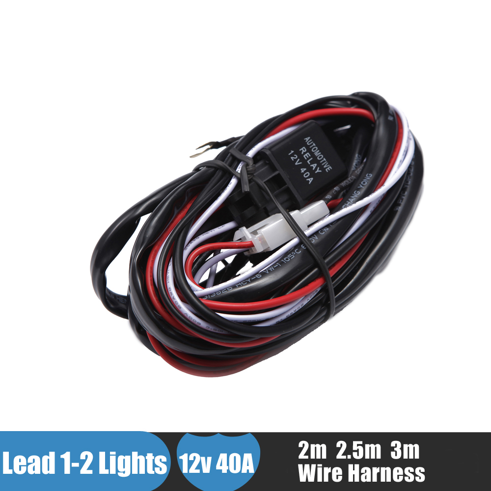 hight resolution of offroad led light bar wiring harness kit 12v 40a extension wire fuse relay on off switch for driving light fog light work light in light bar work light