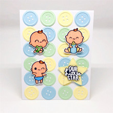 Eastshape Newborn Kids Metal Cutting Dies and Clear Stamps for Scrapbooking Carbon Craft Welcome Little One
