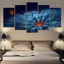 5 Panels Modern Wall Painting flower transparent Home Decorative Art Picture Paint on Canvas Prints(China)