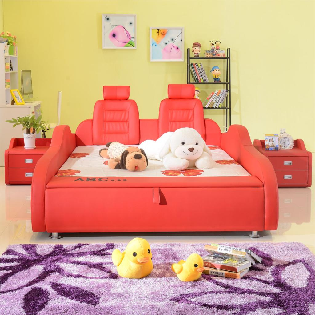 Teenage Girl Crib Boy Cartoon Child Car Bed 15 M With Guardrail Leather Childrens Room Furniture In Children Sets From On