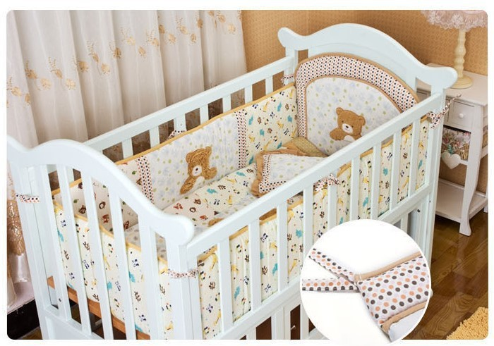 Promotion! 6PCS embroidery baby bedding set baby boy crib bedding set cartoon animal baby crib set (bumper+duvet+bed cover)
