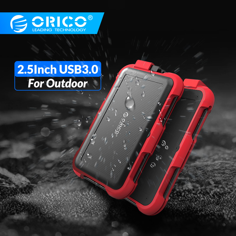 ORICO 2.5'' Triple-Protection HDD Case With Cable Slot 4TB Support UASP And TRIM Waterproof Dustproof Shockproof Silicone Design
