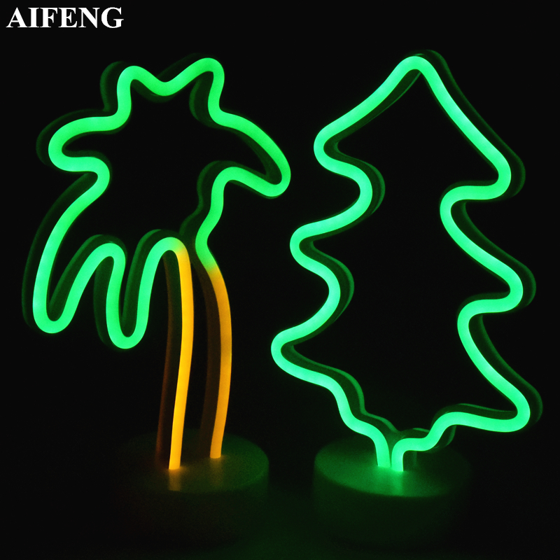 AIFENG Holiday Light Fairy Heart Moon Star Pineapple Coconut Christmas Tree Neon Nightlight Wedding Party Decor Holiday Lighting ...