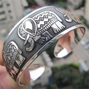Wild Elephant Tibet Style Silver Plated Bracelet