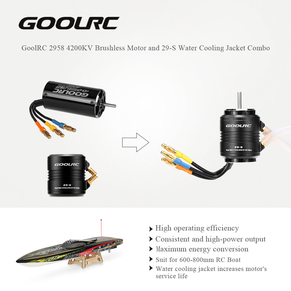 Original GoolRC 2958 4200KV Brushless Motor and 29-S Water Cooling Jacket Combo Set for 600-800mm RC Boat abwe best sale 2968 3400kv brushless motor and 29 l water cooling jacket combo set for 600 800mm rc boat black