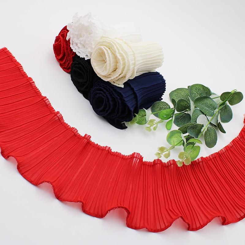1yard x 60mm Red Chiffon 3D Flower Butterfly Lace Bridal Wedding Trim Ribbon