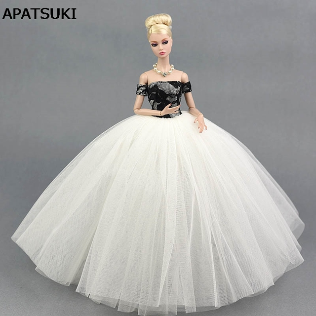 Black White Wedding Dress Clothes for Barbie Doll Princess Evening ...