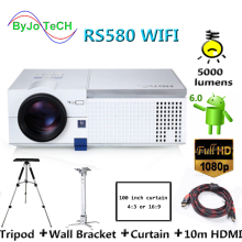 ByJoTeCH RS580 WIFI LED projector 1080P Proyector Android 6.0 Bluetooth With Tripod 10m HDMI Curtain Wall Bracket