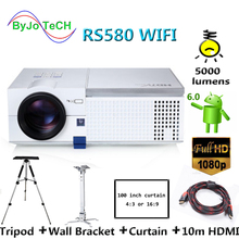 где купить ByJoTeCH RS580 WIFI LED projector 1080P Proyector Android 6.0 Bluetooth With Tripod 10m HDMI Curtain Wall Bracket по лучшей цене