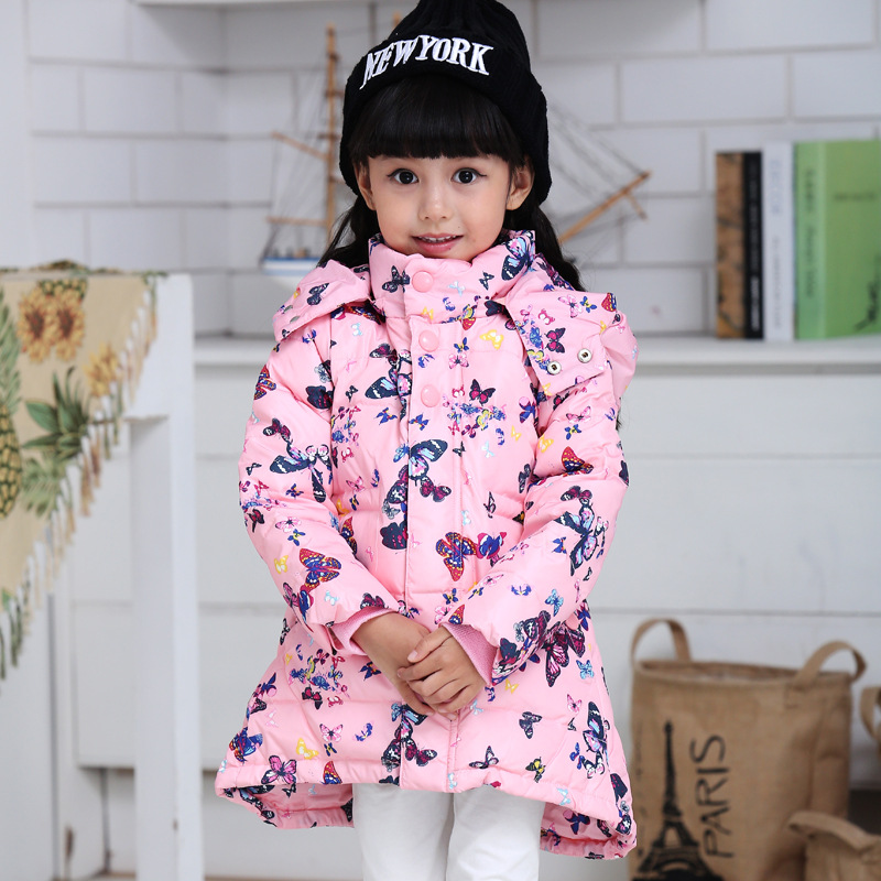 ФОТО kids girl long down jacket 2016 winter fashion print hooded thick girl winter down coat  outwear for 2-5T 5 colors New arrival