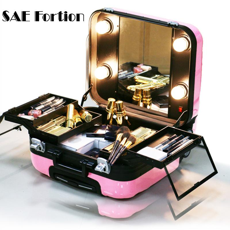 New Travel Makeup Case With Lights Lighted Beauty Box Bag Trolley 3 Colors Pull Case DH0161