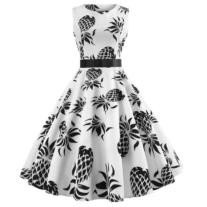 Vestido de natal para as mulheres 2018 magro do vintage elegante vestido de festa casual verão sem mangas floral 50s vestidos plus size
