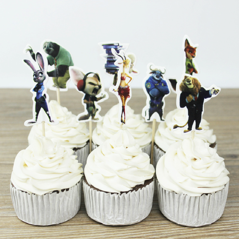 24 pcs Crazy animal city Toppers Zootopia Cupcake Topper Picks Baby Shower Kids Birthday Party Cake Decoration Party Supplies