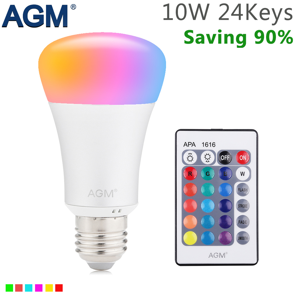 AGM RGB LED Bulb Lamp Night Light 3W 10W E27 Luminaria Dimmer 16 Colors Changeable 24 Keys Remote For Home Holiday Decoration keyshare dual bulb night vision led light kit for remote control drones