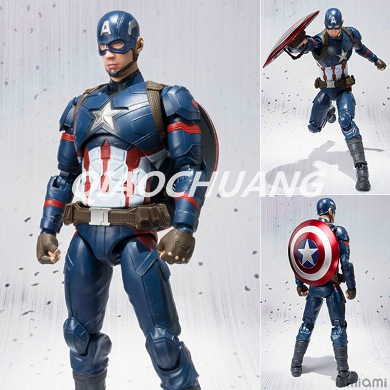 Captain America: Civil War SHF Figuarts SHFiguarts Avengers Captain America PVC Action Figure Collectible Model Toy Boxed W31 captain america civil war iron man 618 q version 10cm nendoroid pvc action figures model collectible toys