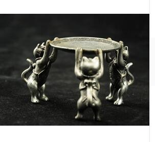 Crafts Chinese Tibet Silver Animal 3 Cat oil lamp Candle Holder Candlestick statue Silver decoration bronze factory outlets