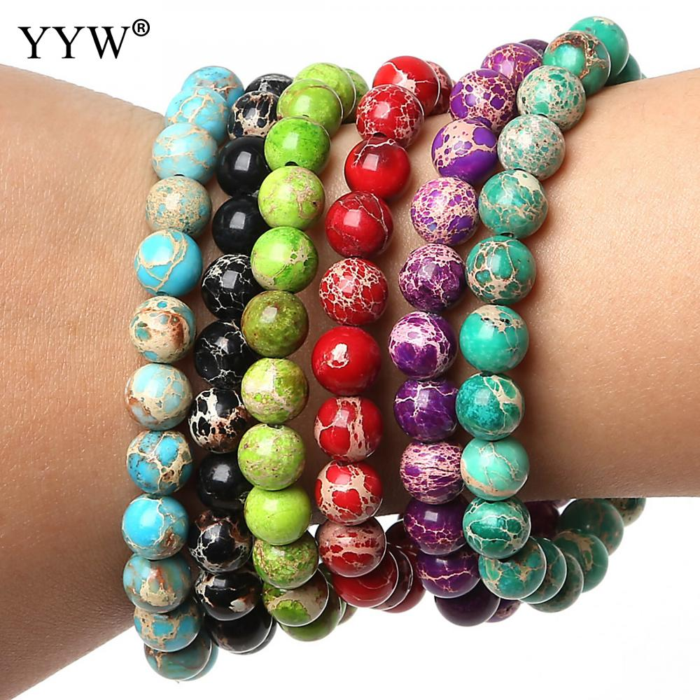 YYW Unisex Impression Jaspers Stone 6/8/10mm Round Beaded Stone Bracelets Women Men Yoga Buddha Bracelets Pulseira Masculina
