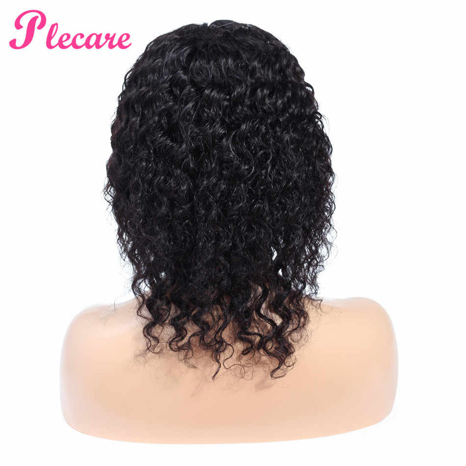 Plecare 4*1 Human Hair Wigs Deep Wave Lace Closure Human Hair Wigs For Black Women 8-14 Inch Brazilian Remy Natural Color