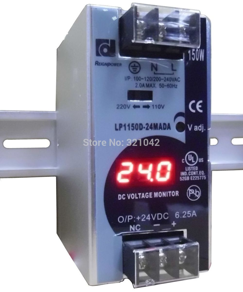 150W 24V 6.25A Mini size Din Rail Single Output Switching power supply with voltmeter voltage display montior 100-240V input dhl ems md 240 24 1 din rail power supply metal case 24v 10a output 85 264vac input c4 d9