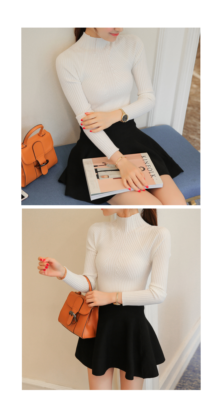 New 17 Spring Fashion Women sweater high elastic Solid Turtleneck sweater women slim sexy tight Bottoming Knitted Pullovers 20