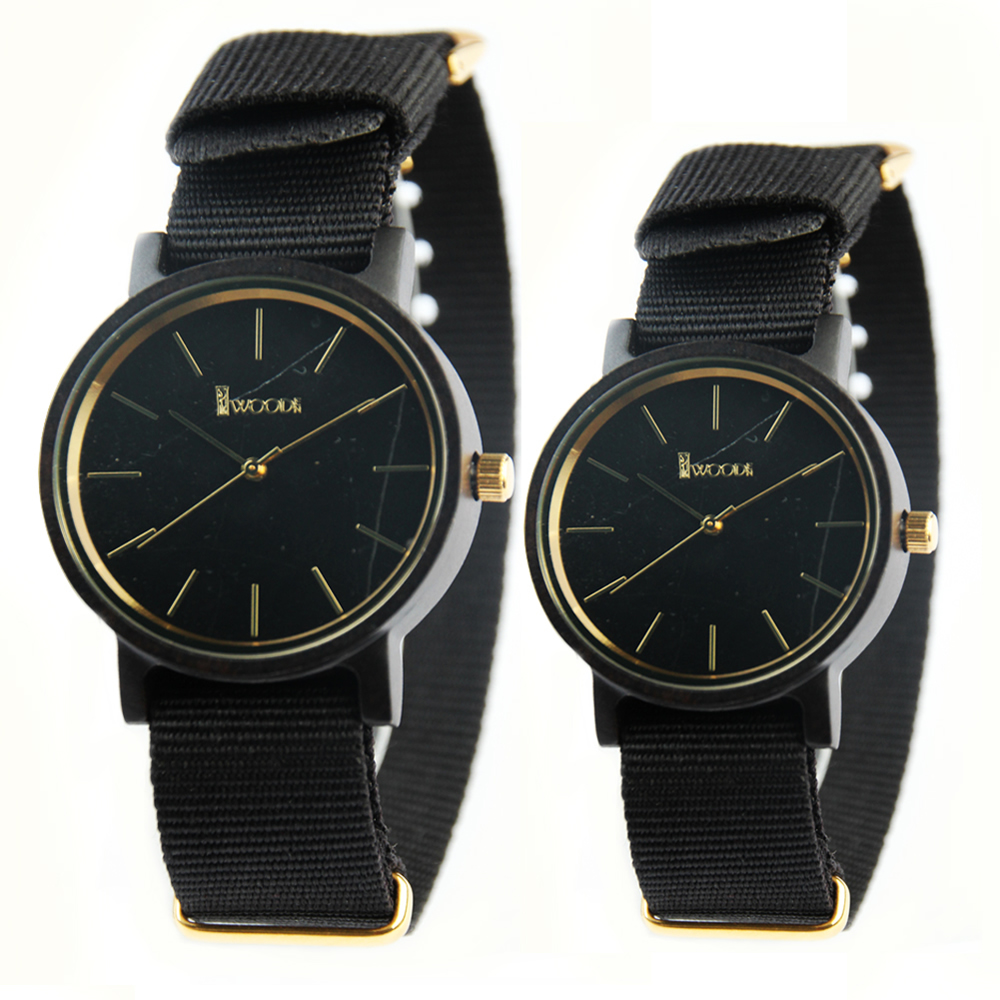 2017 New Relojes Hombre Men WomenWatches Vintage Round Wood Watch Nylon Fabric Black Strap Quartz Watches Japanese Movement