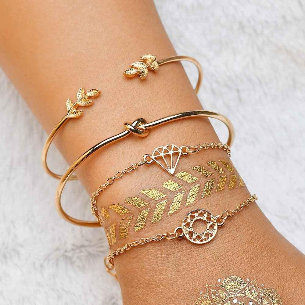 4 шт./компл. модная богемная лист узел ручная манжета звено цепи браслеты с подвесками, браслет на запястье, для Для женщин золотые женские браслеты ювелирные изделия 6115