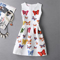 2017 Spring Summer New European Mother Daughter Dresses Girls Sleeveless Printed Butterfly Dress Girls Delicate Pretty Clothing