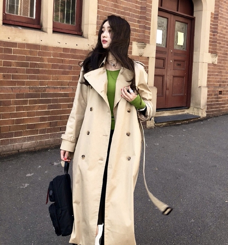 Korean Double Breasted High Waist   Trench   Coat For Women Casual Trenchcoat Vrouwen Long Coat
