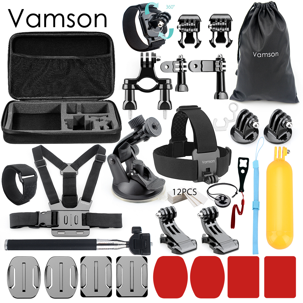 Vamson for Gopro Accessories Set Monopod Head Strap For Gopro Hero 6 5 4 3 for Xiaomi Mijia SJCAM for EKEN H9 Camera VS61 gopro head strap quickclip крепление на голову клипса