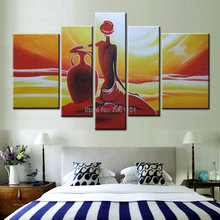 large hand-painted oil wall art abstract orange handwork woman home decoration figure painting on canvas 5p107