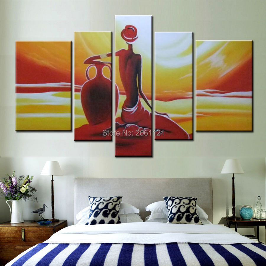 large hand painted oil wall art abstract orange handwork woman home decoration abstract figure oil painting on canvas 5p107