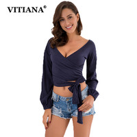 VITIANA Women Casual Tshirt Long Sleeve Deep V Neck Dark Blue Spring Tunic Female Elegant Tops