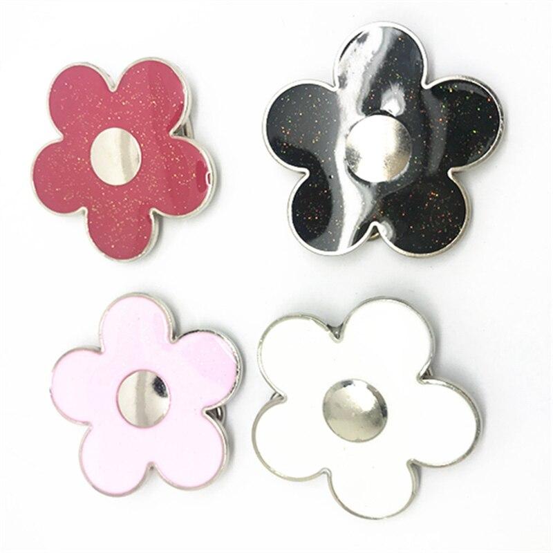 Custom Factory 200 Pcs Wholesale Colorful Flower 4 Color Metal Belt Buckle For 3 Cm Women's Belt