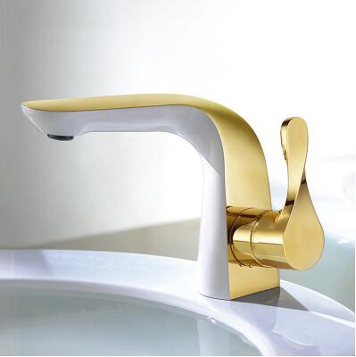 high quality Basin faucet brass unique design bathroom faucet luxury single lever gold and white sink faucet basin faucet square international award design brass single lever bathroom basin faucet bathroom sink faucet bathroom faucet
