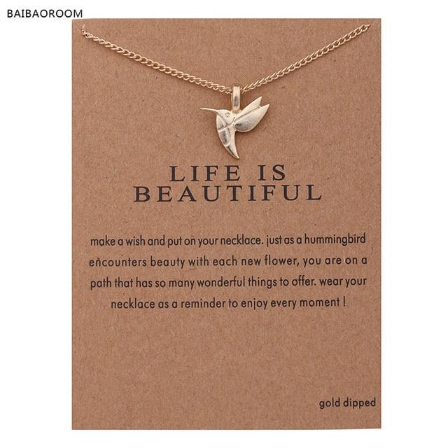 Fashion Jewelry New Gold-color Life Is Beautiful Bird Collarbone Short Choker Ne